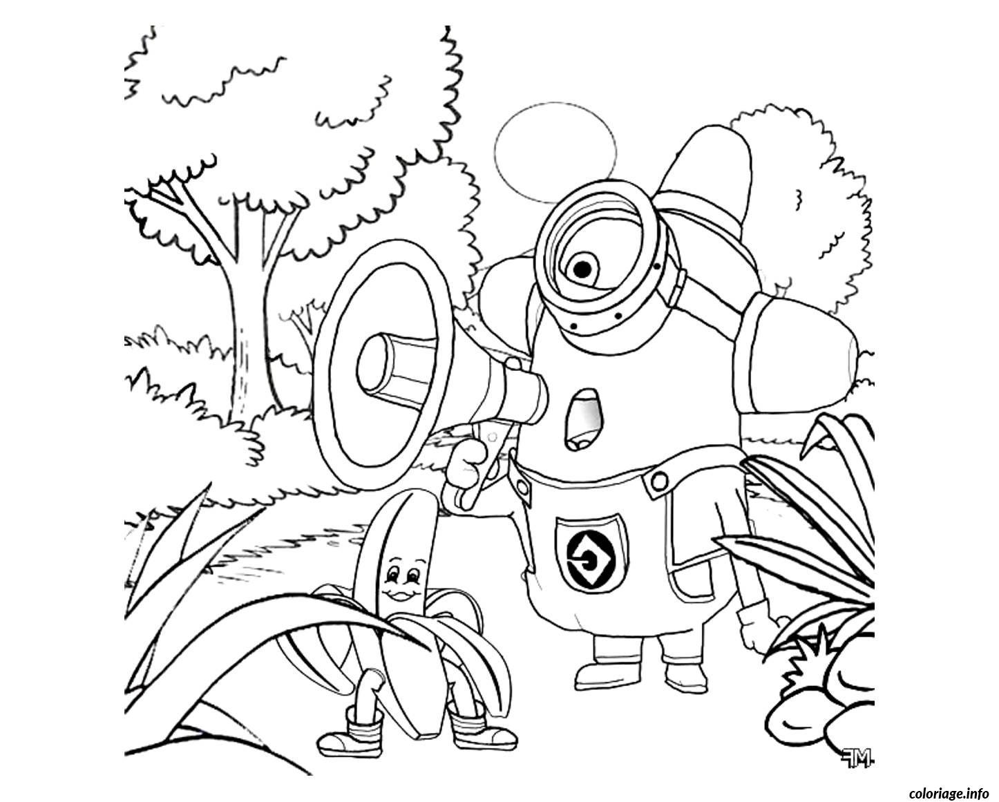 Coloriage Dessin Minion Dans La Foret dessin