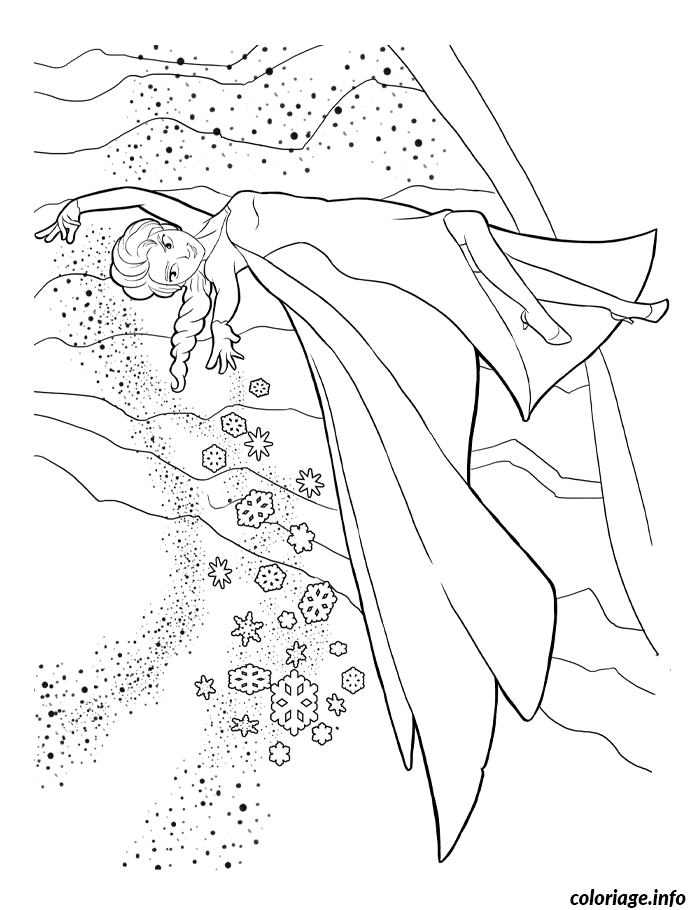 Coloriage Reine Des Neiges Paysage De Neige dessin