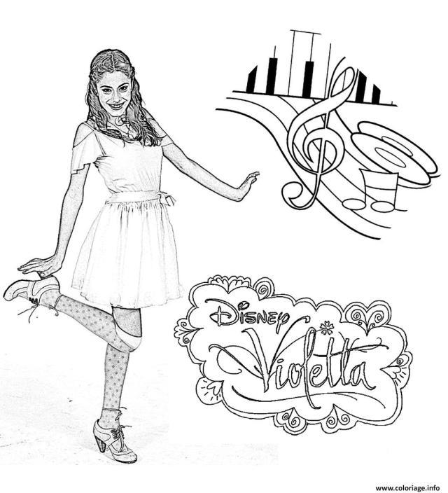 Coloriage Violetta Danse Notes Dessin Violetta à imprimer