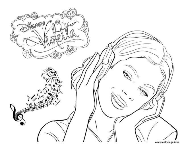 Coloriage Violetta Musique Disney Dessin Violetta à imprimer