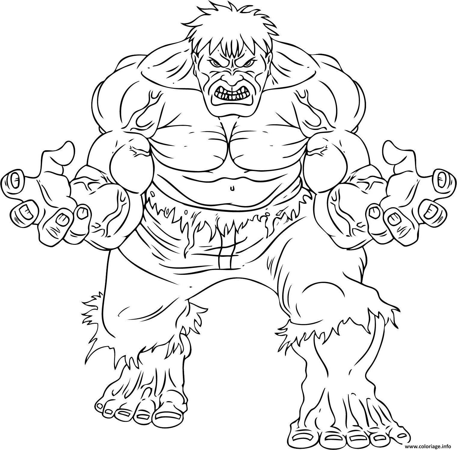 Coloriage Avengers Transformation Hulk dessin