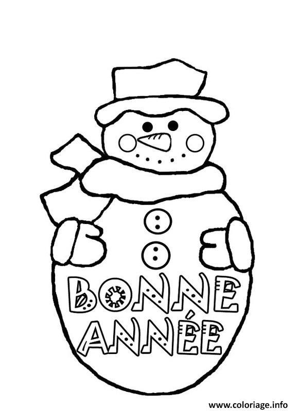 Coloriage Bonne Annee Bonhomme De Neige dessin
