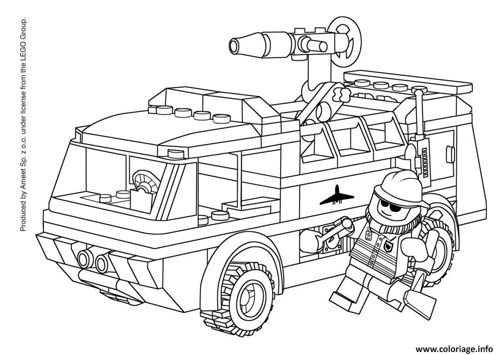 Coloriage Lego City Pompier Avec Camion De Pompier dessin