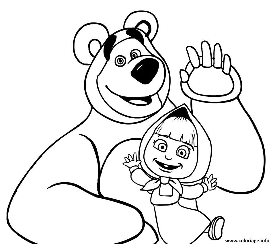 Coloriage Masha Et Michka Pour Enfant