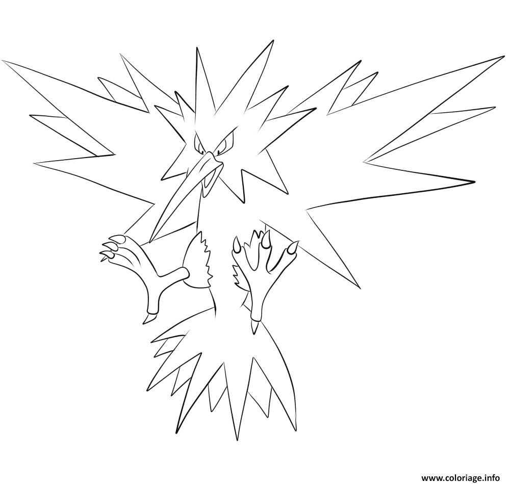 Coloriage Electhor Pokemon Legendaire Dessin