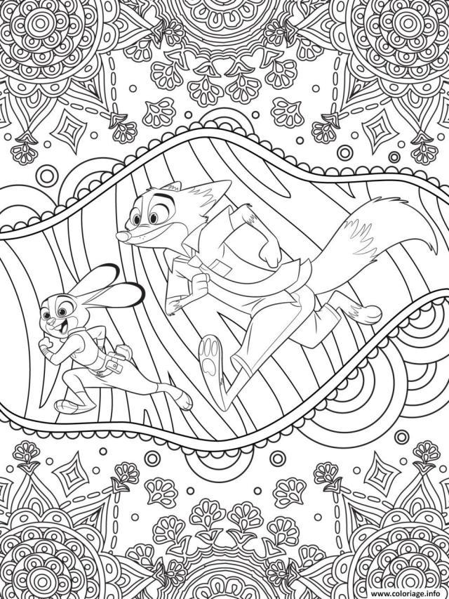 Coloriage Mandala Disney Zootopie Judy Hopps Et Nick Wilde De