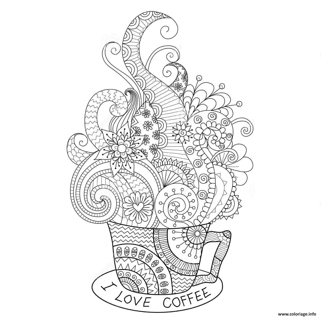 Coloriage Cup Hot Coffee Zentangle Design Adulte dessin