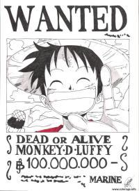 Coloriage Wanted One Piece Roronoa Zoro