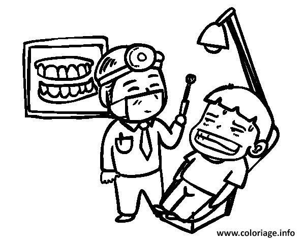Coloriage Un Dentiste Et Son Patient Pas Tres Content dessin
