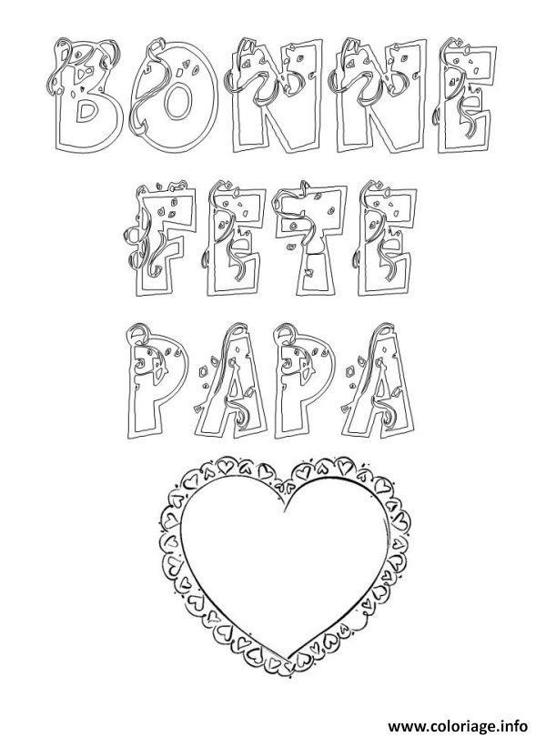 Dessin Bonne Fete Papa : dessin, bonne, Coloriage, Bonne, Coeur, JeColorie.com