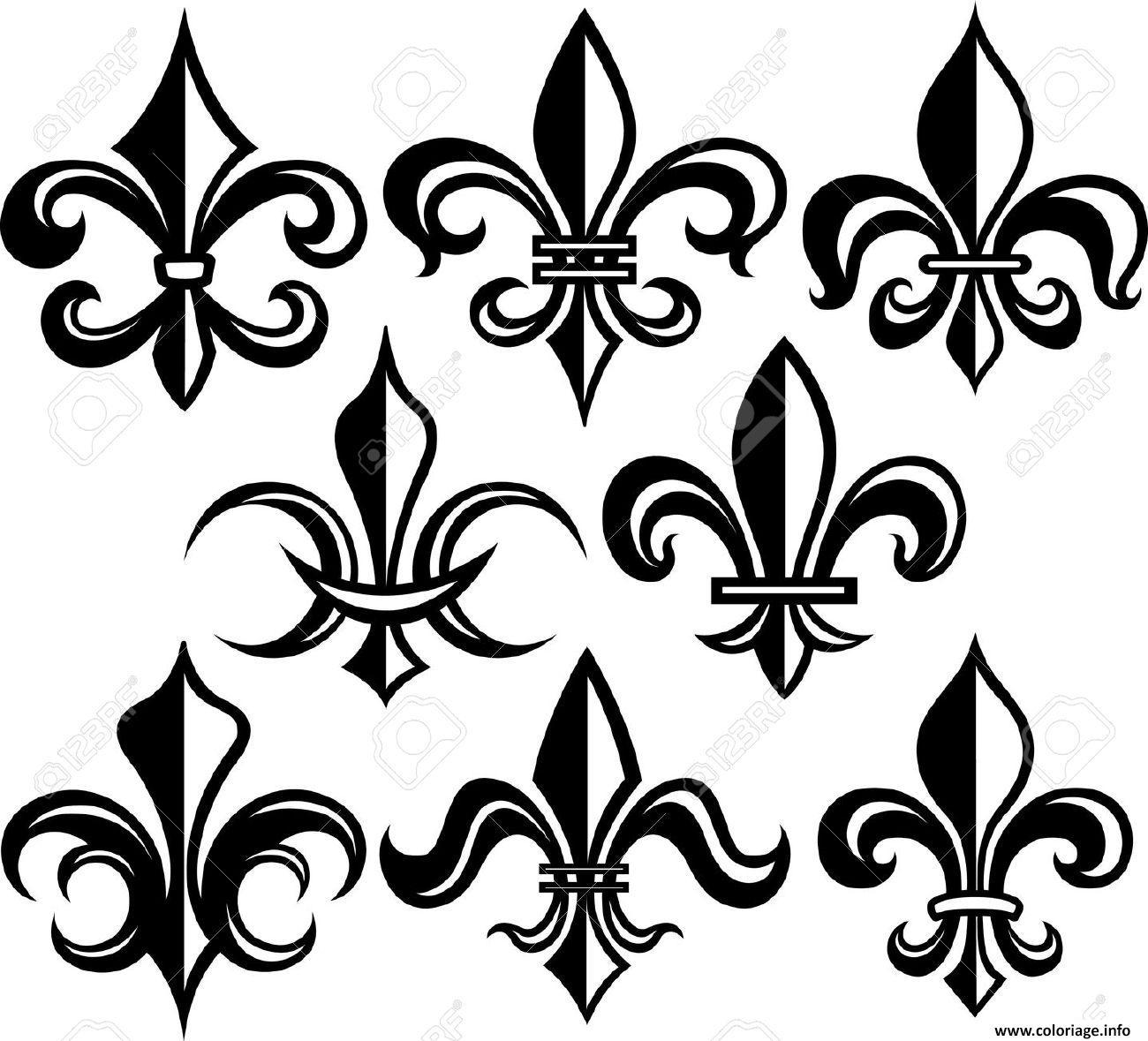 Coloriage Fleur De Lis New Orleans Stock Vector