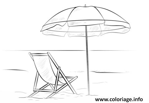 coloriage parasol avec chaise de plage