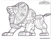 Coloriage power rangers dino charge lion robot - JeColorie.com