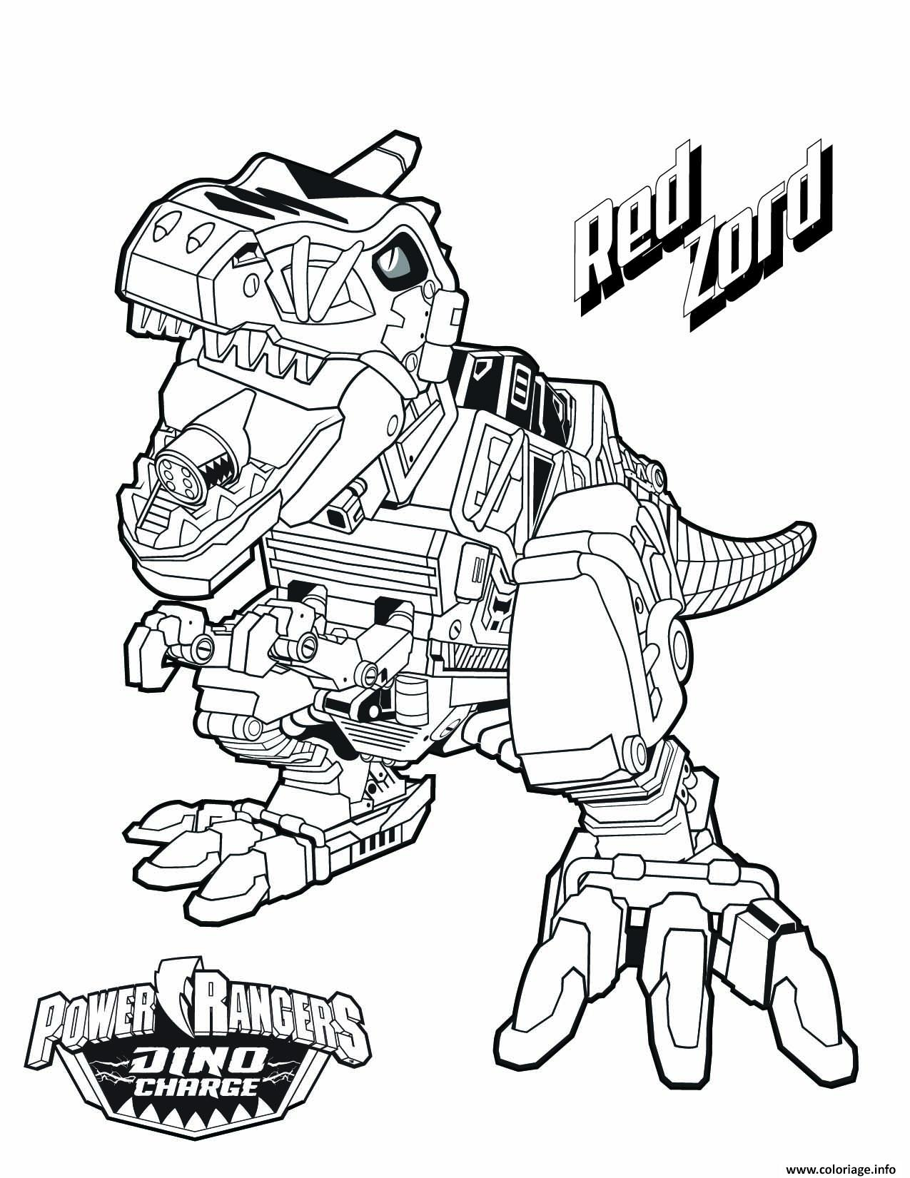 Coloriage Power Rangers Dino Charge Red Zord