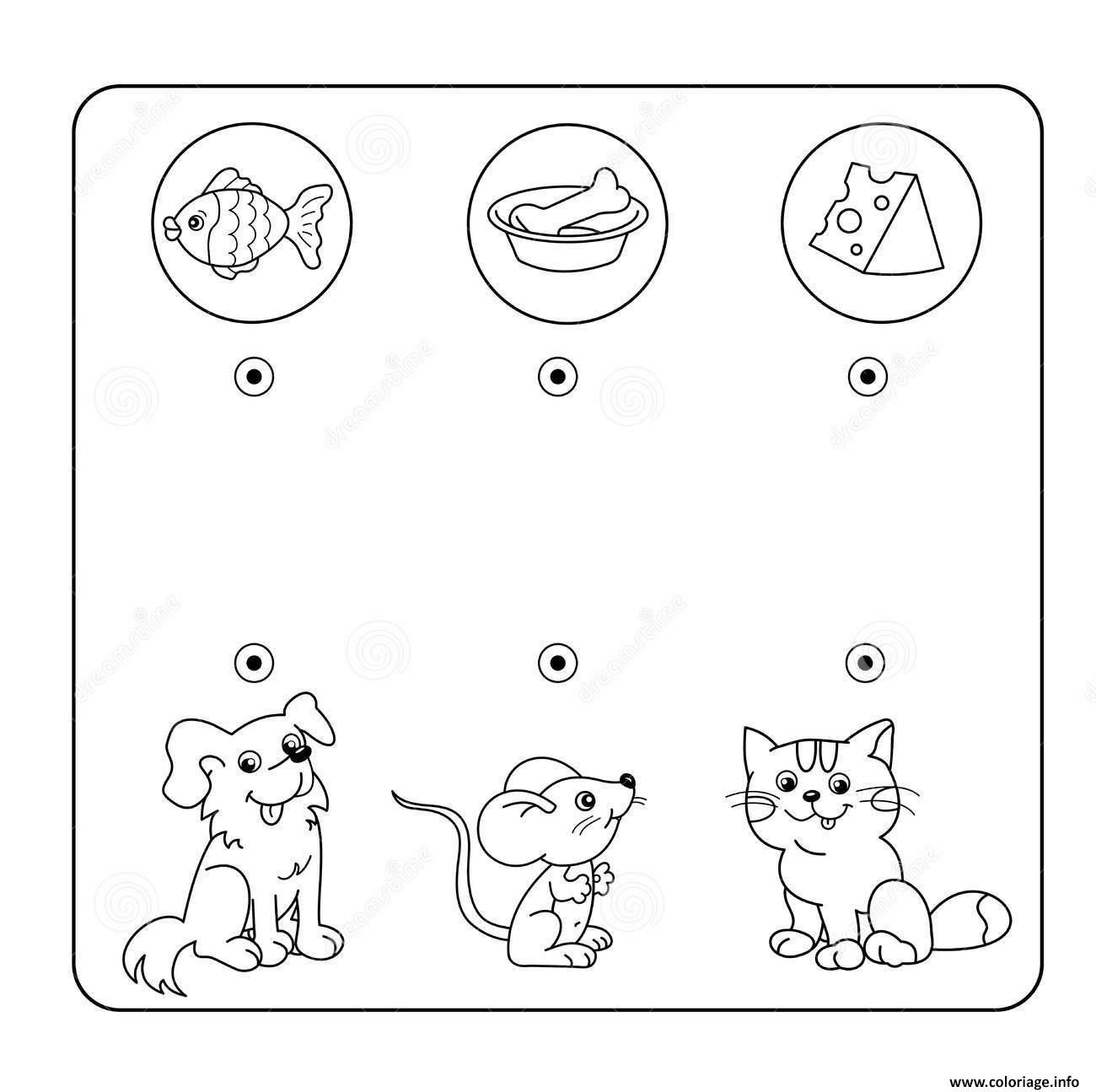 Coloriage Relie Chaque Animal A Son Repas Jeu A Imprimer
