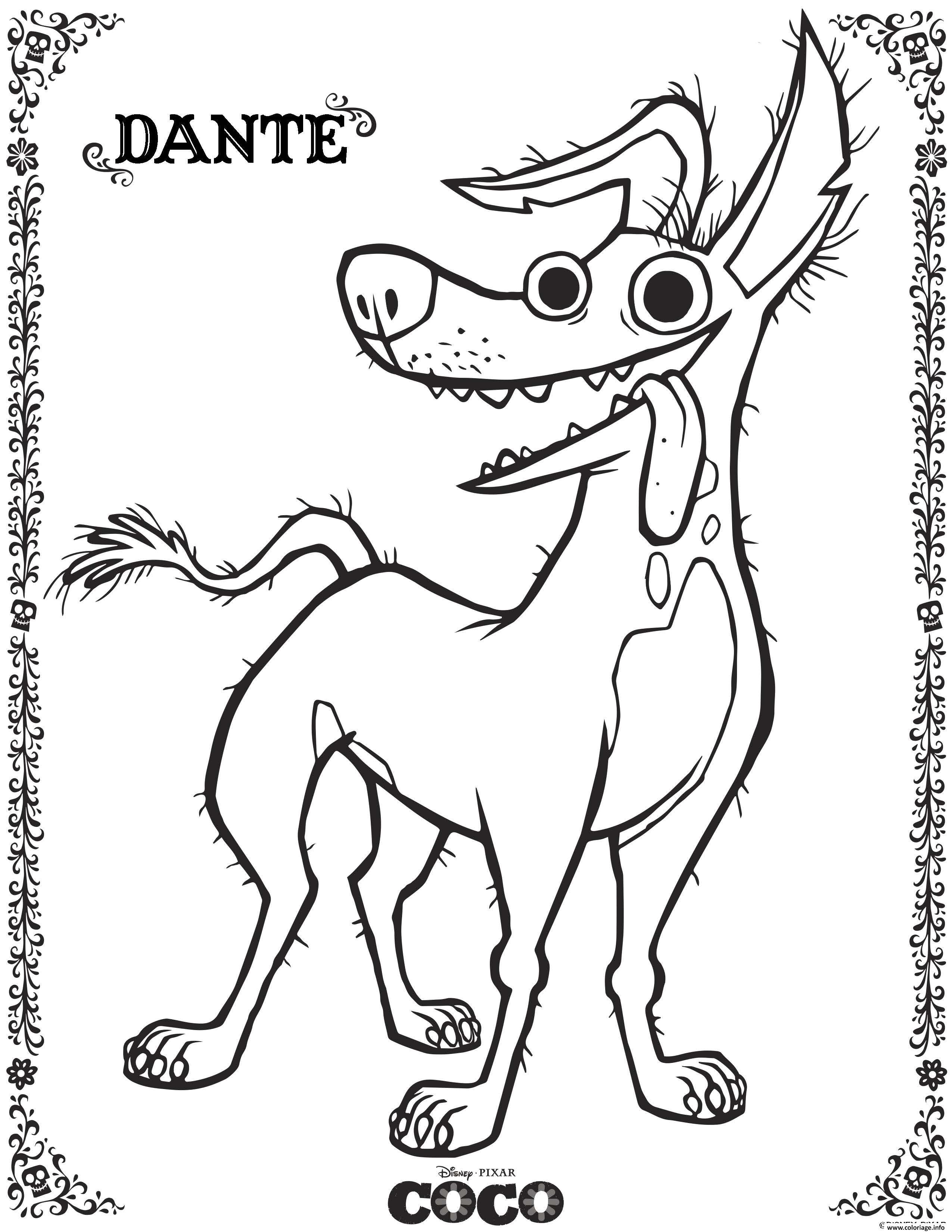 Coloriage Dante 2 Coco Disney dessin