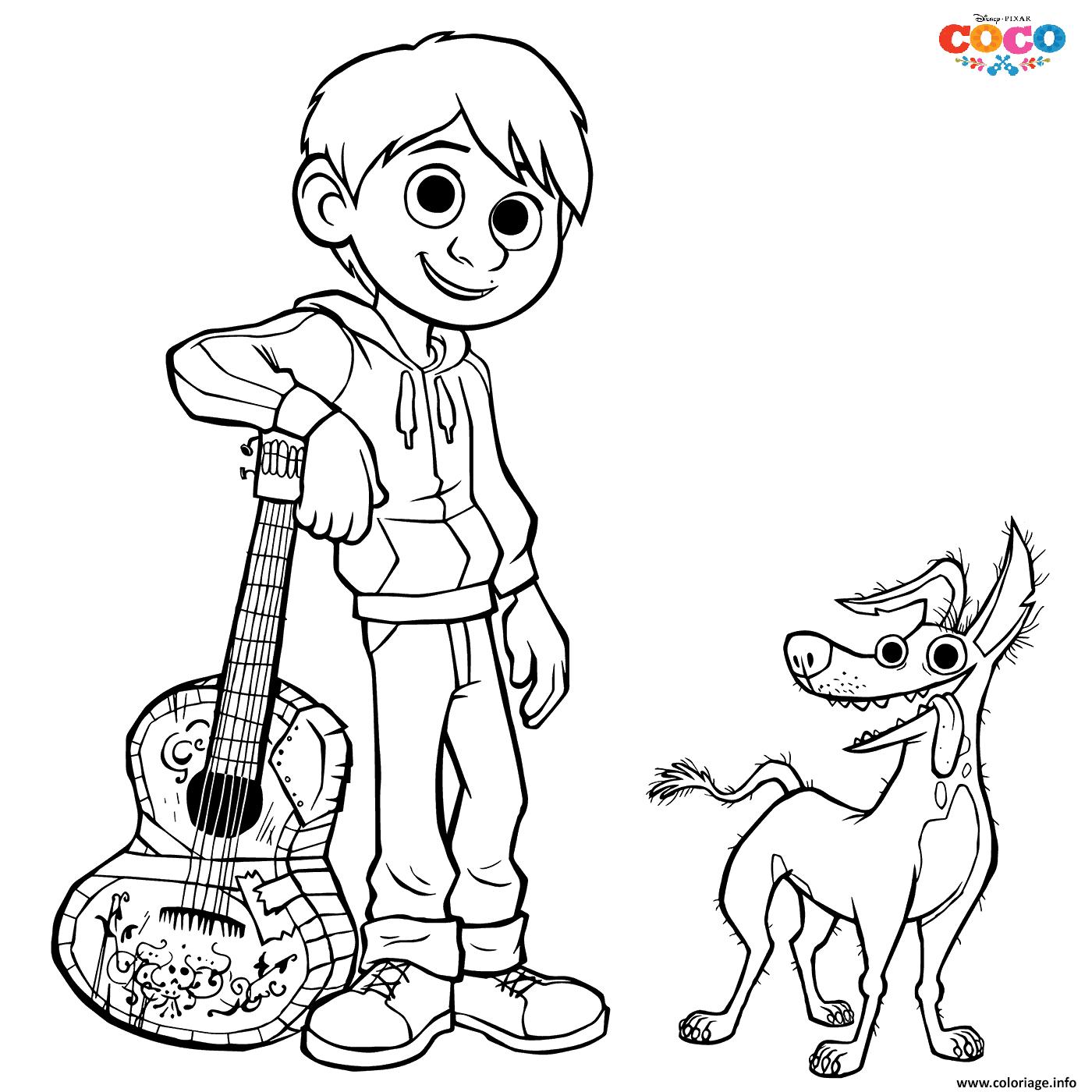 Coloriage Miguel And Dante Dog Disney Coco dessin