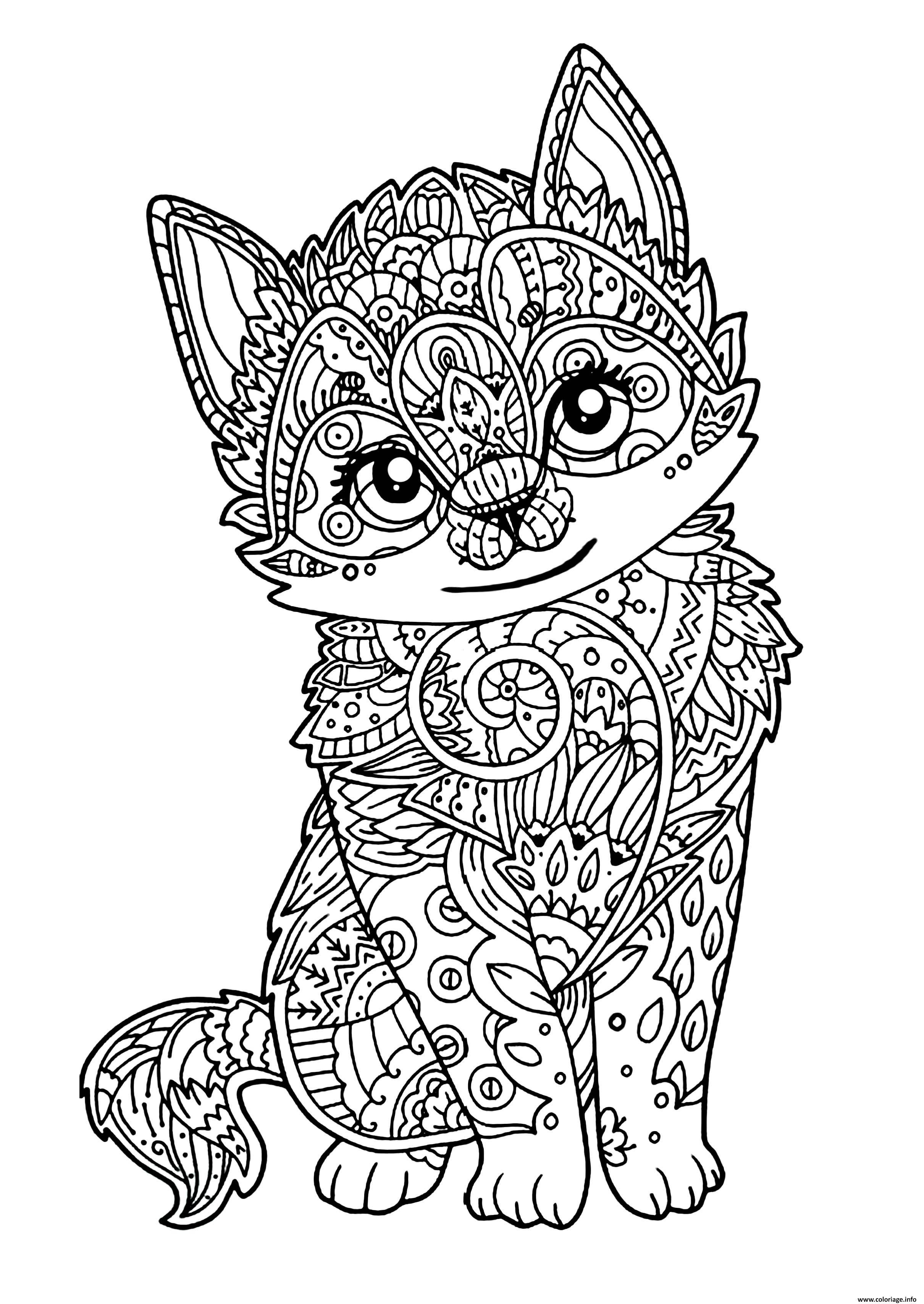 Coloriage chat mignon chaton adulte  JeColoriecom