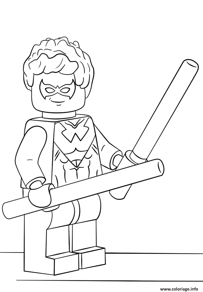 coloriage lego nightwing super heroes  jecolorie