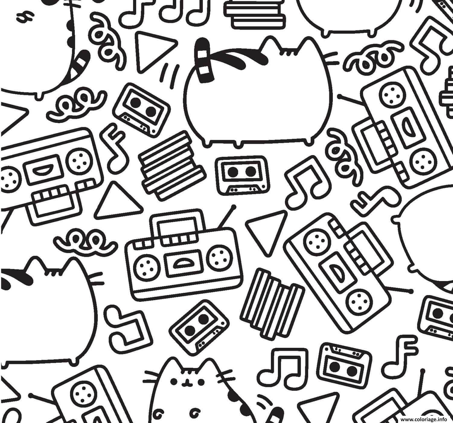 Coloriage Pusheen Music Pattern Adult dessin