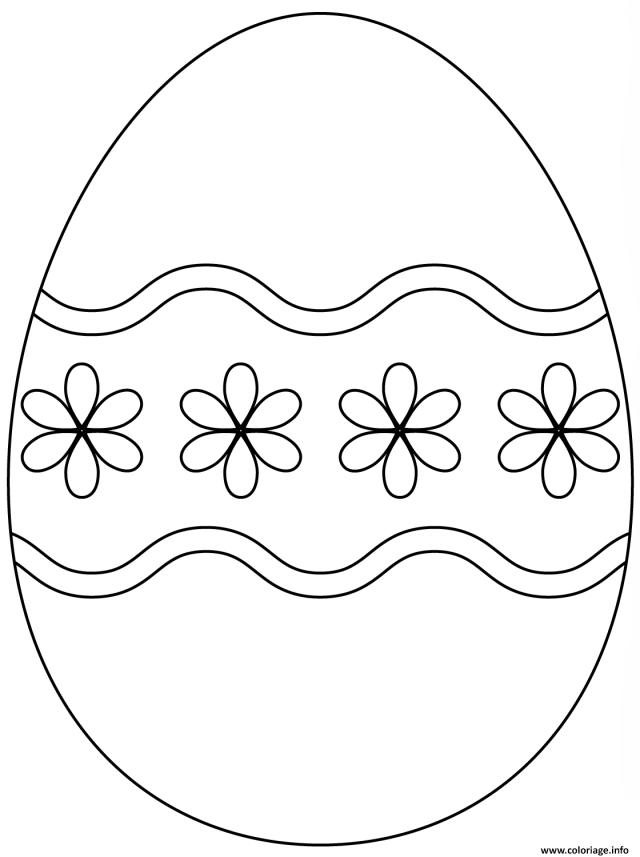 Coloriage Oeuf De Paques Avec Simple Flower Pattern Dessin Paques