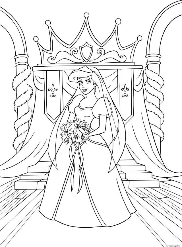 Coloriage La Petite Sirene En Robe De Mariage Dessin Ariel La