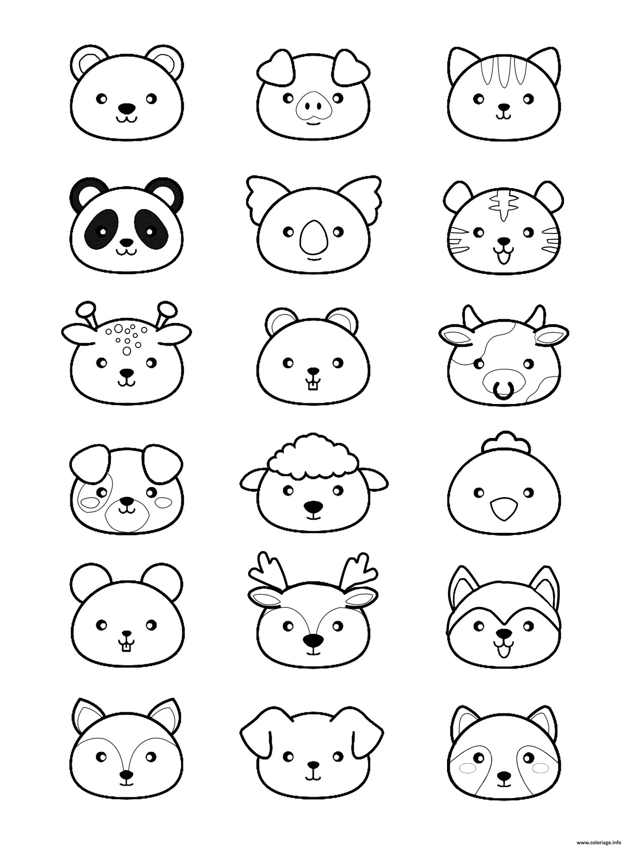 Kawaii Facile Dessin Kawaii : kawaii, facile, dessin, Coloriage, Animaux, Kawaii, Dessin, Imprimer