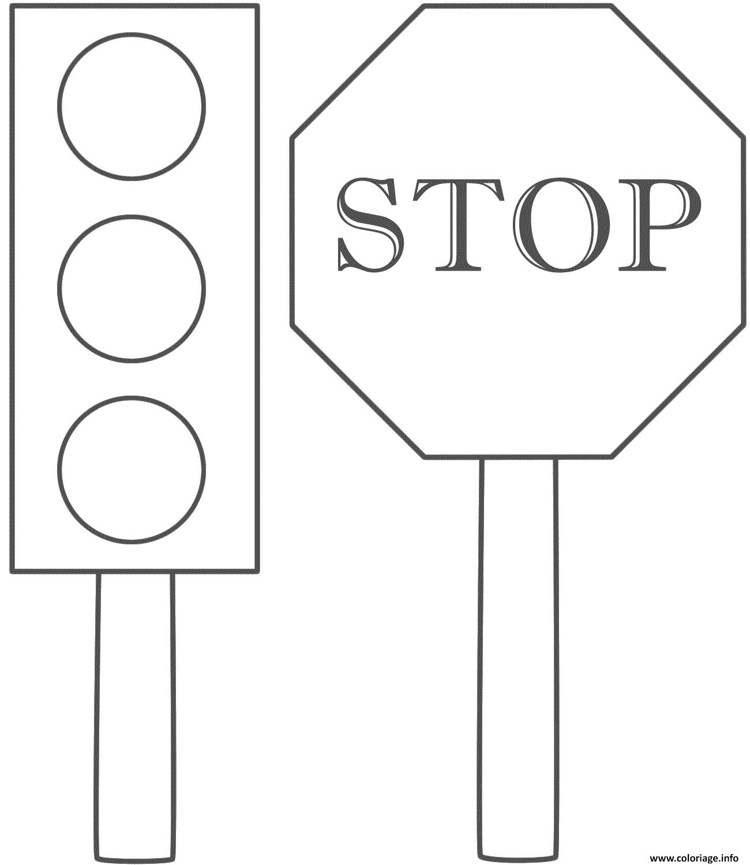 Coloriage Securite Routiere Panneau Stop Dessin