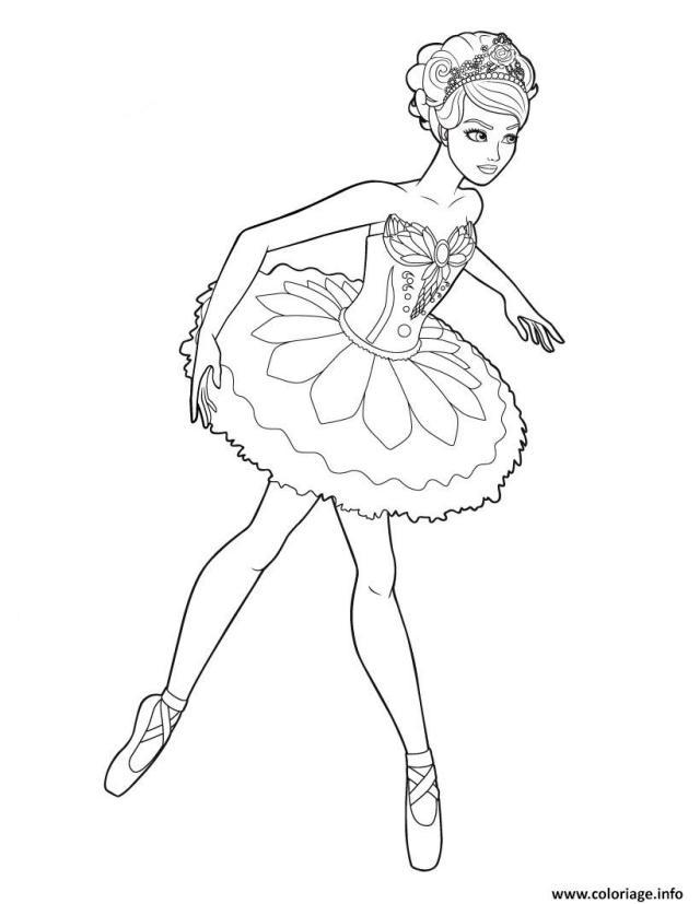Coloriage Barbie Qui Fait De La Ballerine Dessin Ballerina à imprimer