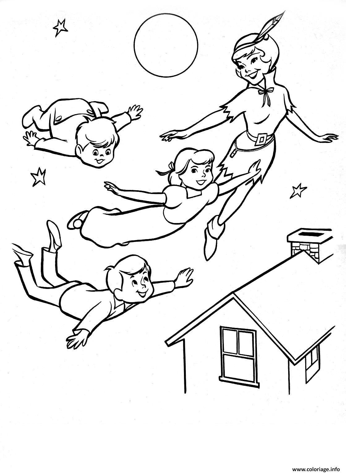 Coloriage Famille Peter Pan Dans Les Airs