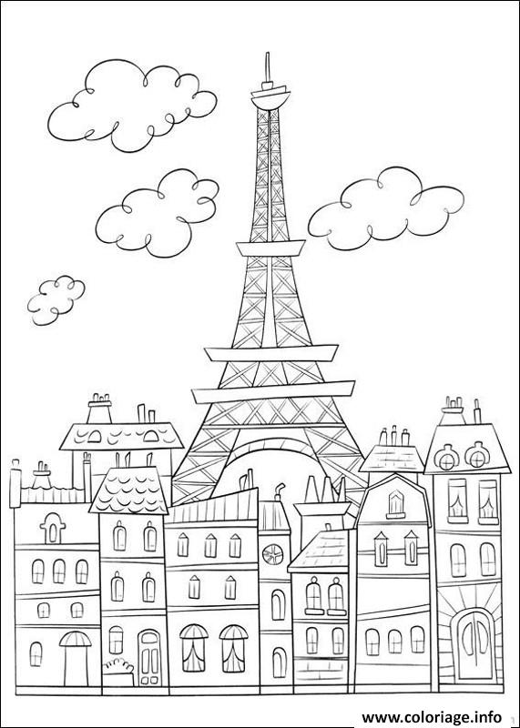Coloriage Ville De Paris France dessin