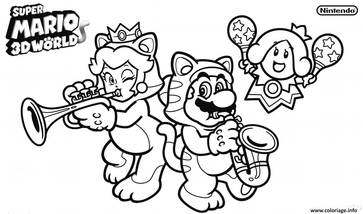 Coloriage Super Mario 3d World dessin