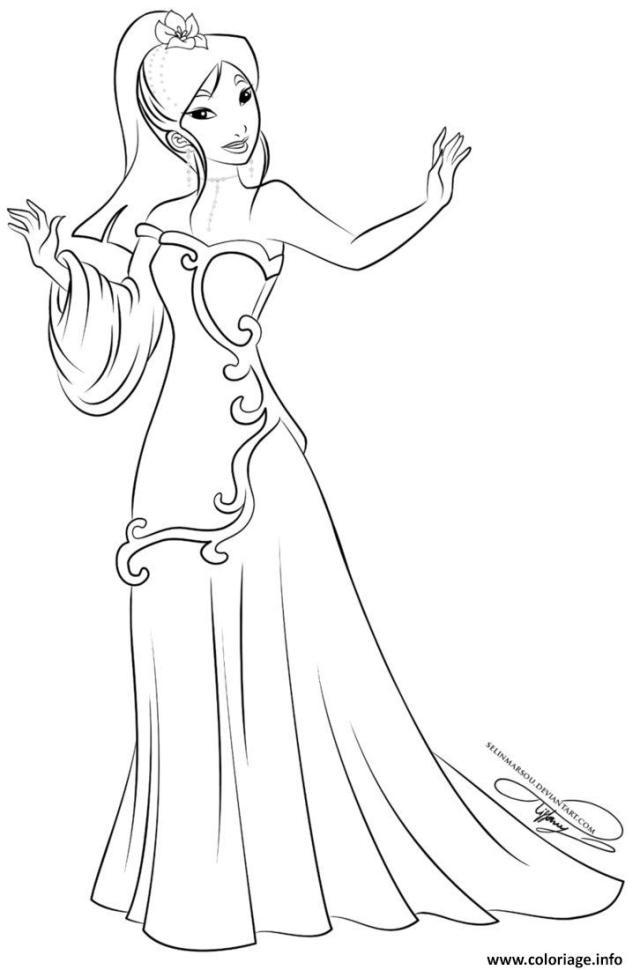 Coloriage Princesse Disney Mulan Dessin Mulan à imprimer