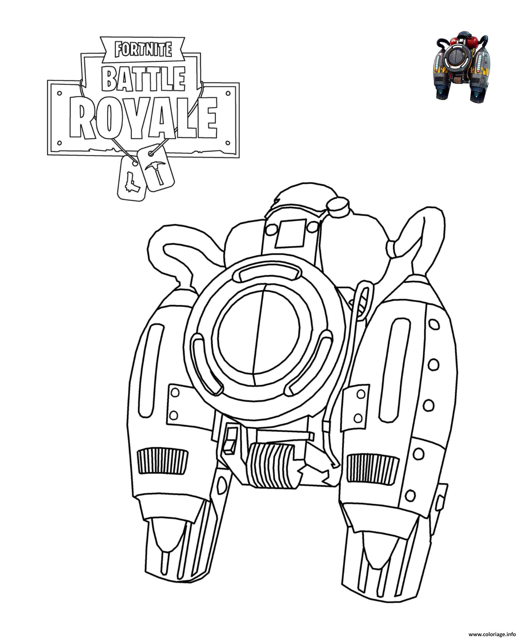 Coloriage Fortnite Jetpack Dessin