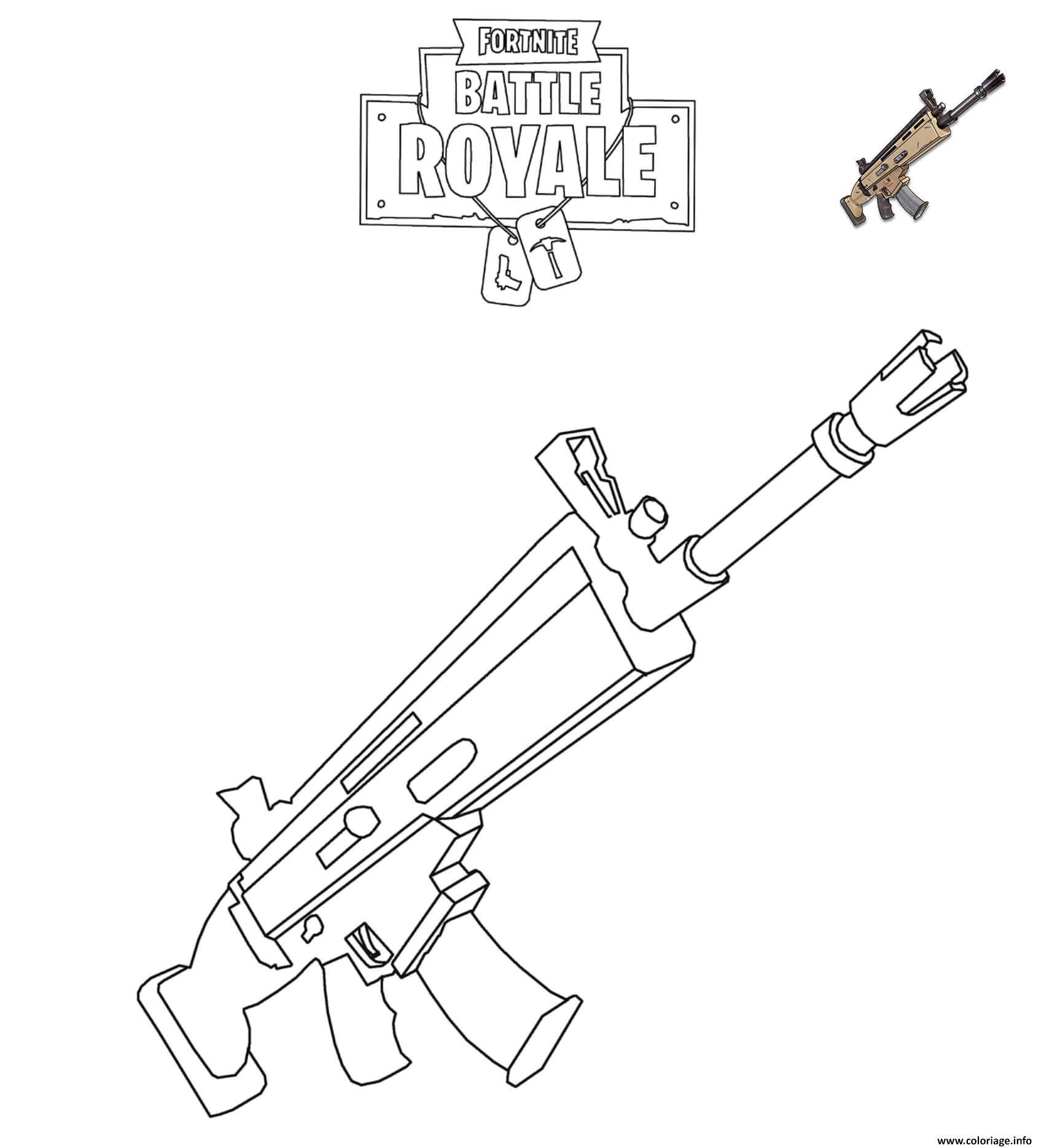Coloriage Fortnite SCAR dessin