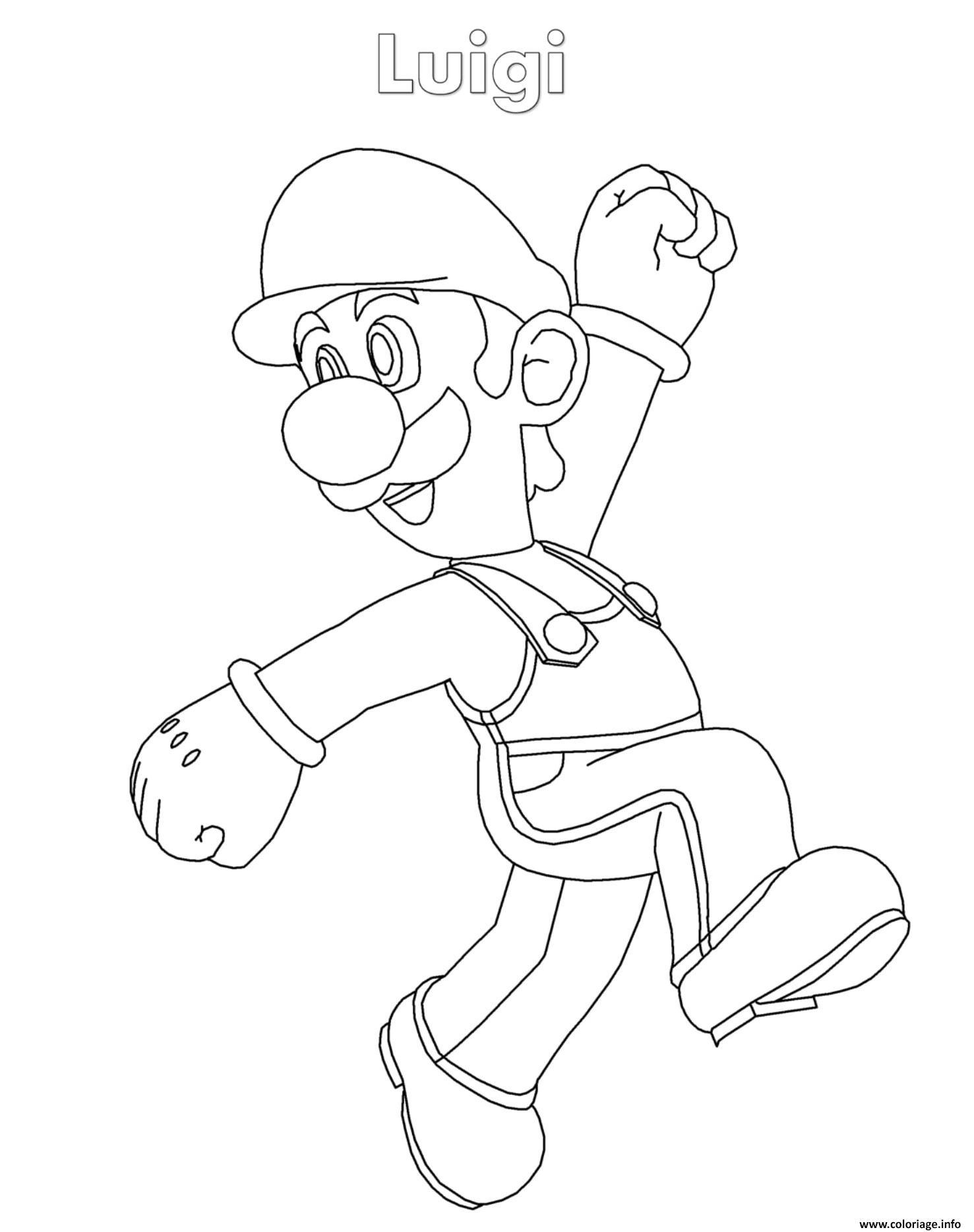 Coloriage Luigi Super Mario Nintendo dessin