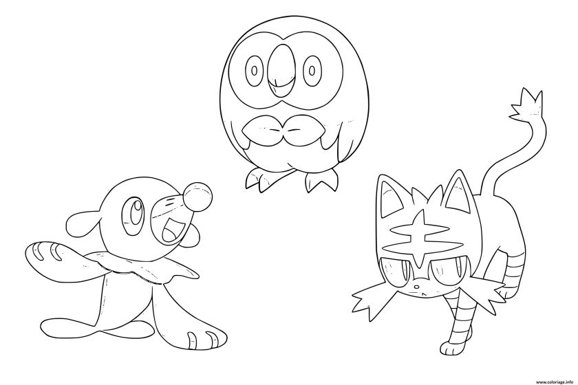 coloriage pokemon soleil lune starters dessin