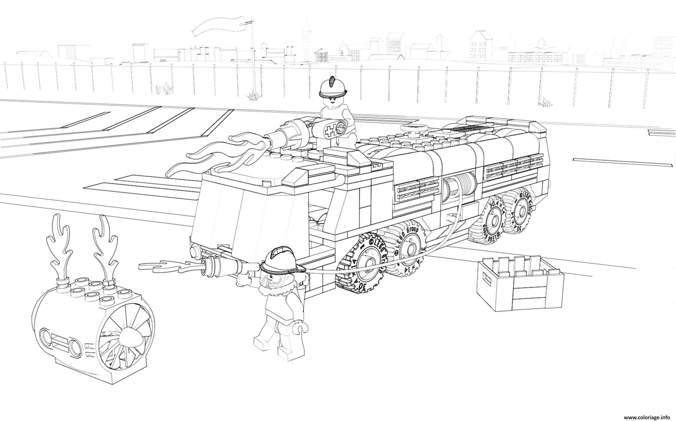 Coloriage Lego City Firefighter Fire Truck Dessin