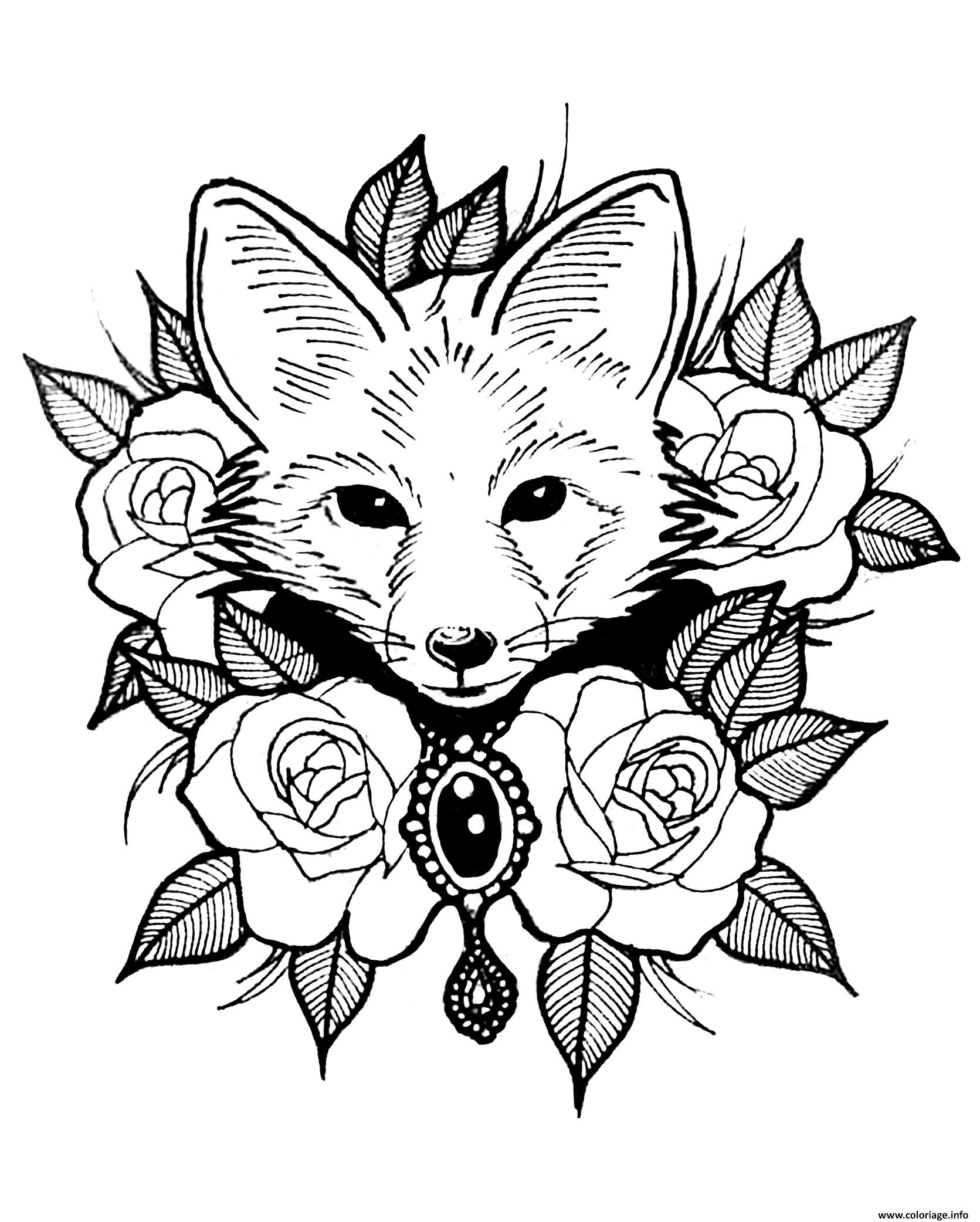 Coloriage Renard Et Roses Style Tatouage dessin