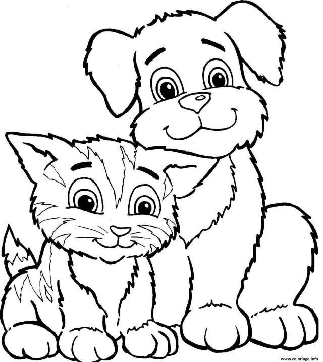 Coloriage Chat Et Chien Dessin Chat à imprimer