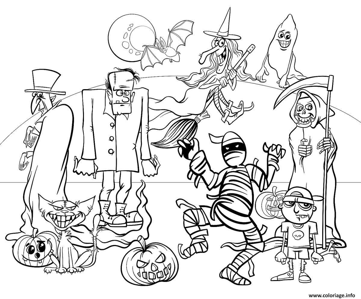 Coloriage Les Personnages De Halloween Dessin
