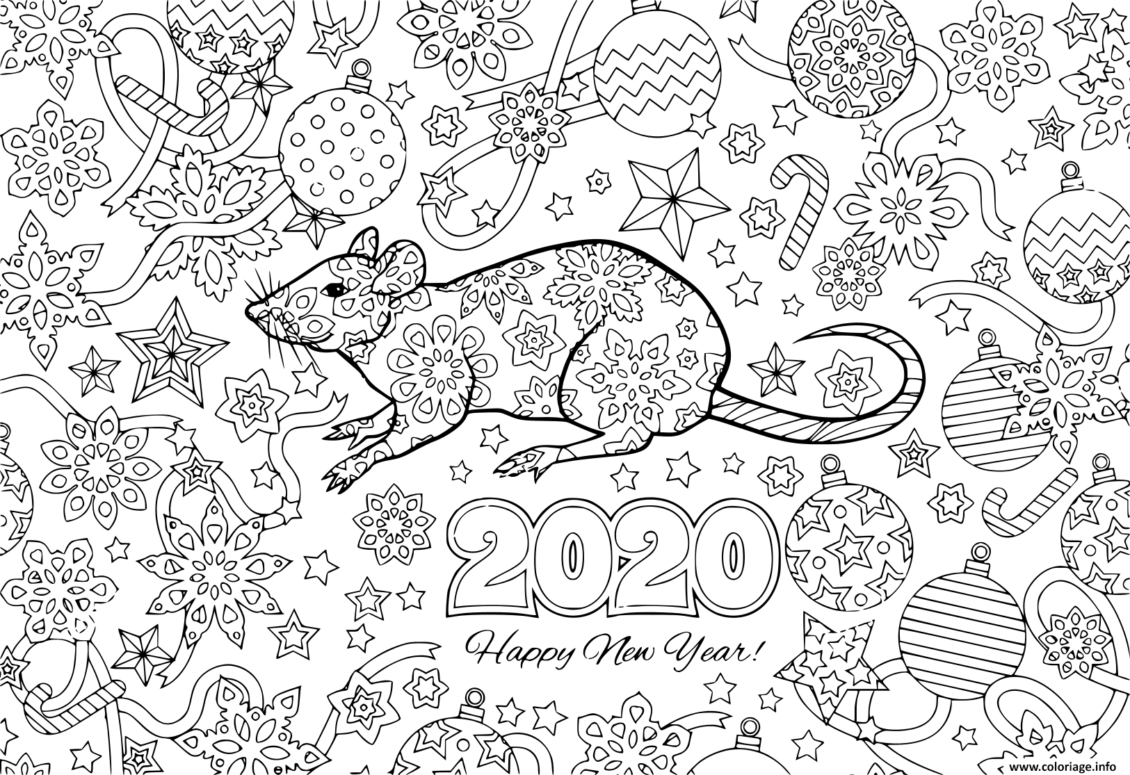 Coloriage Nouvel An Rat And Festive Objects Image