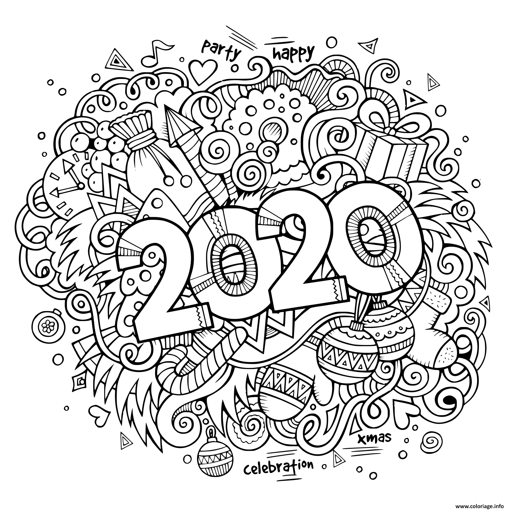 Coloriage Nouvel An Doodles Objects And Elements