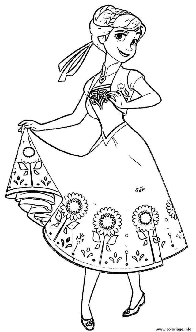 Coloriage Princesse Anna D Arendelle Disney 7 Dessin Princesse