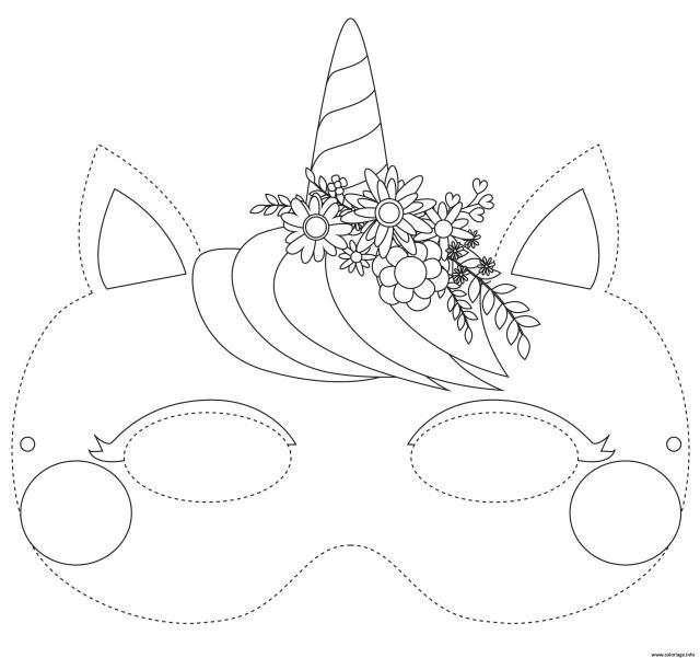 Coloriage Masque De Licorne A Colorier Dessin Masque à imprimer