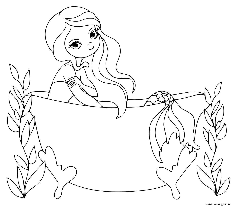 coloriage une sirene dans une baignoire