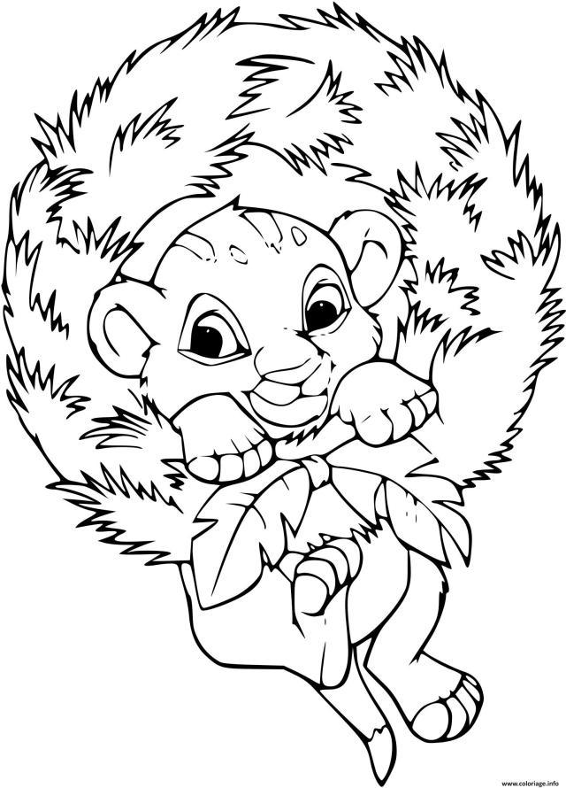 Coloriage Bebe Simba Se Berce Couronne De Noel Dessin Simba à imprimer