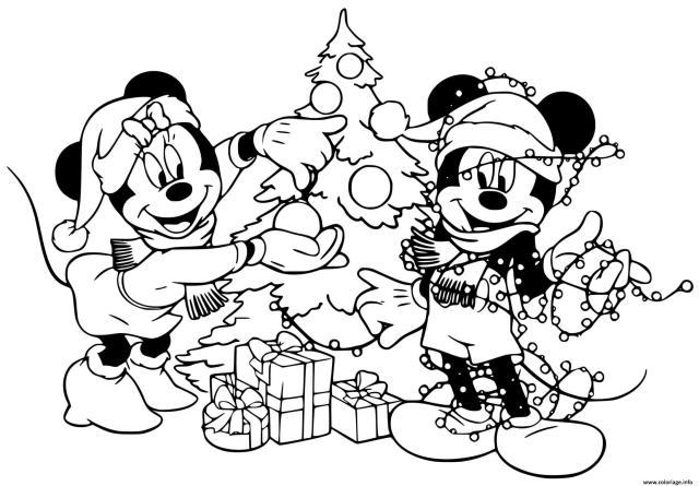 Coloriage Mickey Minnie Decorating Tree Dessin Noel Disney à imprimer