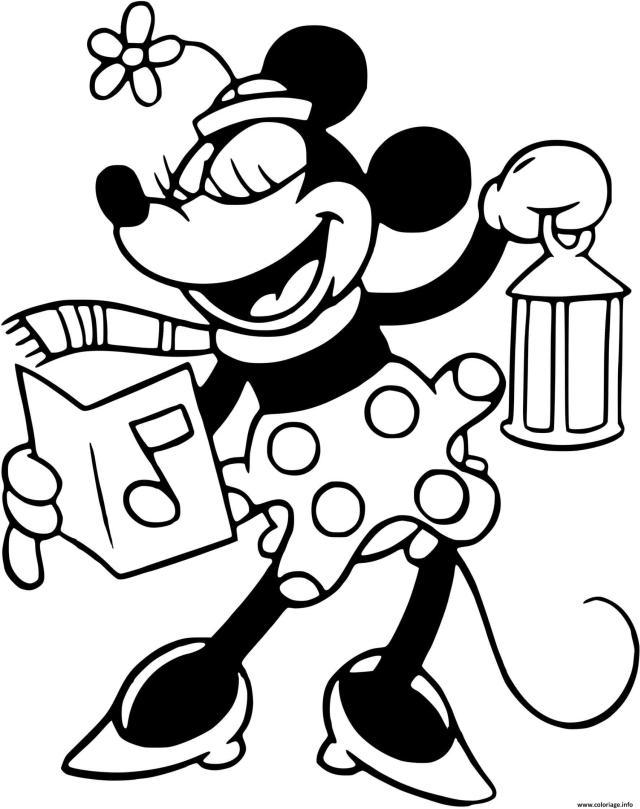 Coloriage Classic Minnie Singing Carol Dessin Noel Disney à imprimer