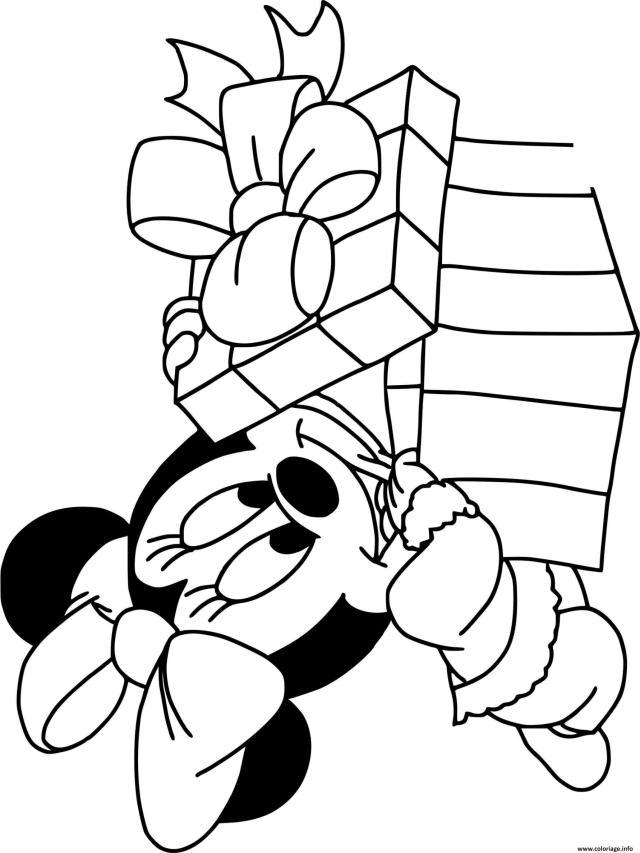 Coloriage Baby Minnie Present Dessin Noel Disney à imprimer